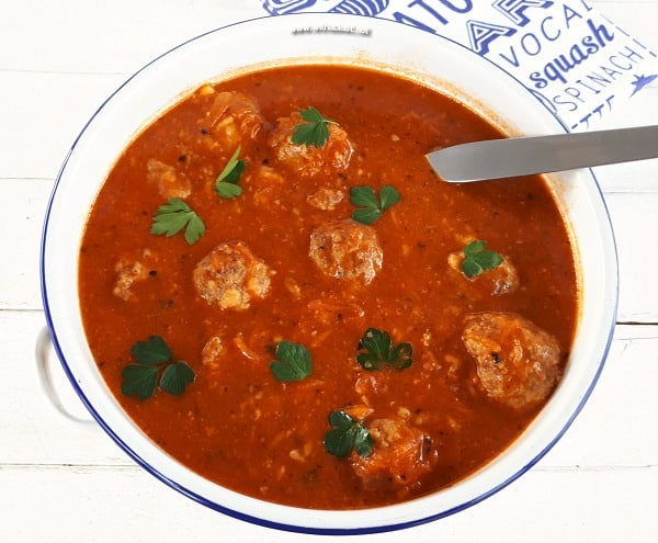 Rich Tomato based Soup with Mozzarella stuffed Meatballs make a hearty, warming dinner