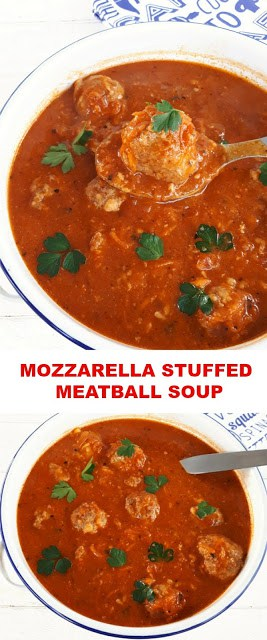 Easy, economical ! Rich Tomato based Soup with Mozzarella stuffed Meatballs make a hearty, warming dinner
