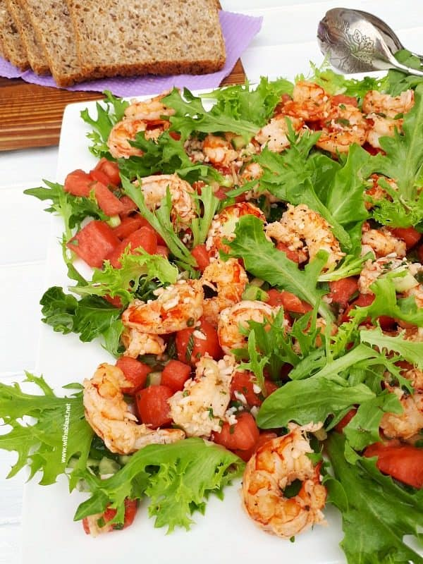 Shrimp Salad with a spicy Watermelon Salsa is so refreshing, healthy and  perfect for lunch or to serve as a light dinner