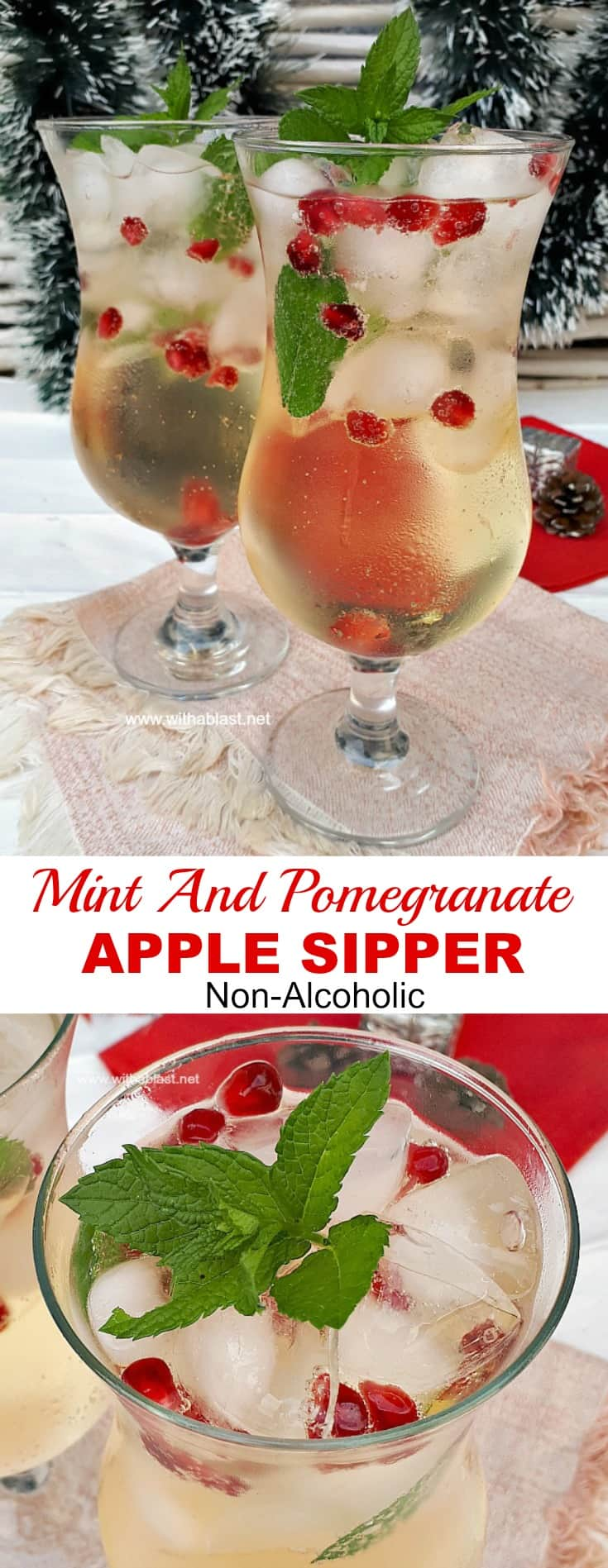 Refreshing, Mint and Pomegranate Apple Sipper is a must on your holiday drinks menu ! (Sparkling or plain) added alcohol optional