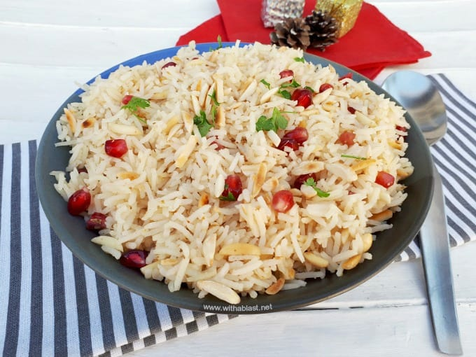 A Quick and easy recipe for Pomegranate Almond Rice - perfect to serve as a side to any main Festive meal, which might just steal the show !
