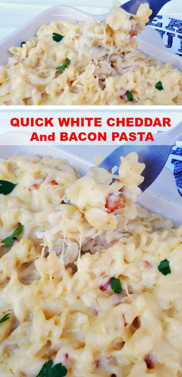 Quick White Cheddar and Bacon Pasta