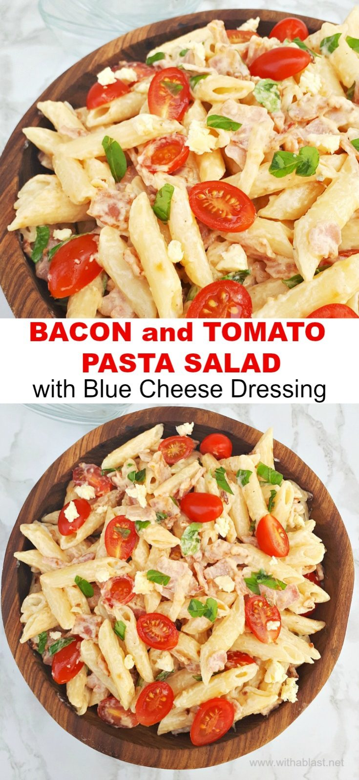 Bacon Tomato salad with Blue Cheese Dressing is so flavorful and always a winner to serve as an appetizer or light dinner #Salad #Appetizer #TomatoSalad #PastaSalad #BlueCheeseDressing