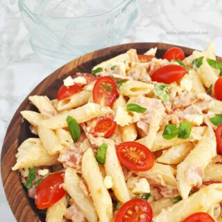 Bacon Tomato Pasta Salad With Blue Cheese Dressing