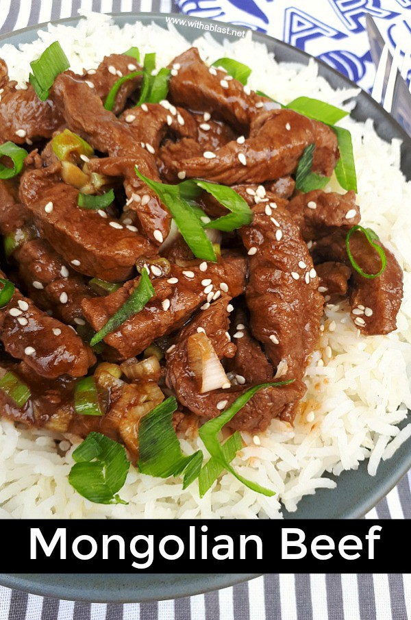 Mongolian Beef only takes 15 minutes and is a delicious dinner - Beef strips covered in a thick, scrumptious sauce - serve over rice with one or two sides #MongolianBeef #15MinuteDinner #QuickAndEasyDinner #QuickRecipes #Beef
