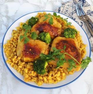 Turmeric Chicken with Barley and Broccoli