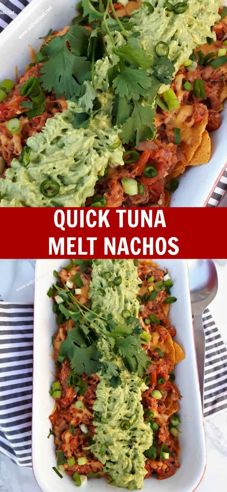 Quick Tuna melt Nachos is a cheesy, tomato rich, quick and easy dish to be served as an appetizer, snack and perfect as a light dinner too #TunaMelt #Nachos #Appetizer #LightDinner #TunaNachos