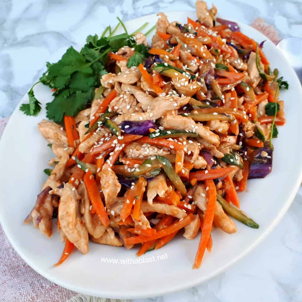 Thai Chicken Stir-Fry is so quick and easy to make for dinner on a busy week night ! Loaded with vegetables and with the distinct Thai taste this dish is always a winner