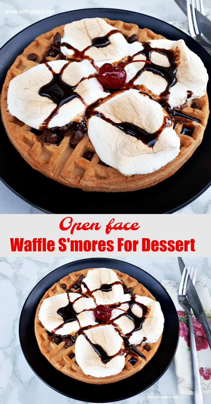 Waffle S'mores For Dessert (open-face style) ! Gooey, sweet, syrupy and so easy to make #DessertWaffles #Waffles #Smores