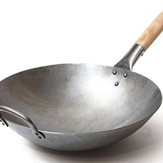 Traditional Hand Hammered Carbon Steel Pow Wok with Wooden and Steel Helper Handle (14 Inch, Round Bottom)/731W88 by Craft Wok