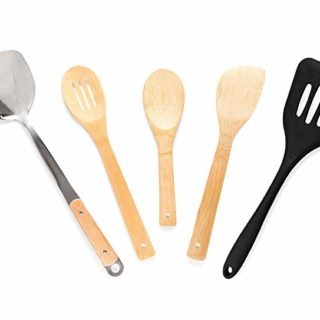 5-piece Bamboo Wok Cooking Set Perfect for Every Chef- Superior Quality, Made with Bamboo, Wok Spatula, Silicone Spatula, Bamboo Wok Spoons and Paddle for Cooking/Stir Frying Your Favorite Foods