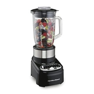 Hamilton Beach 54210 Blender with 40 Oz Glass Jar for Shakes and Smoothies, 14 Speeds, 800 Watts, Stainless Steel