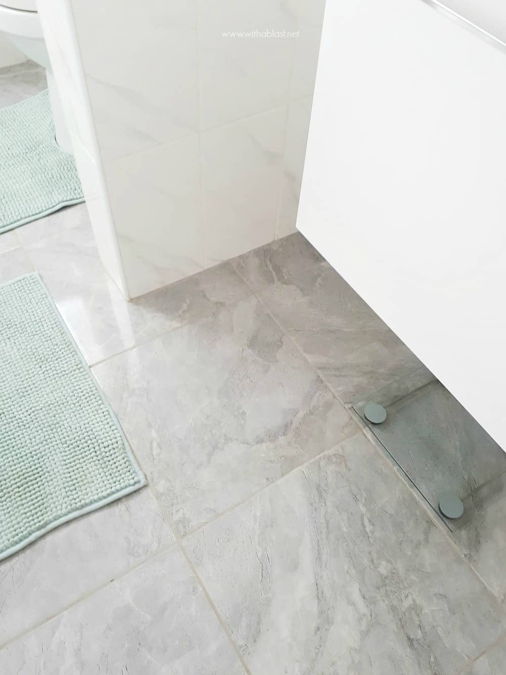 Bathroom Makeover - grey floor tiles