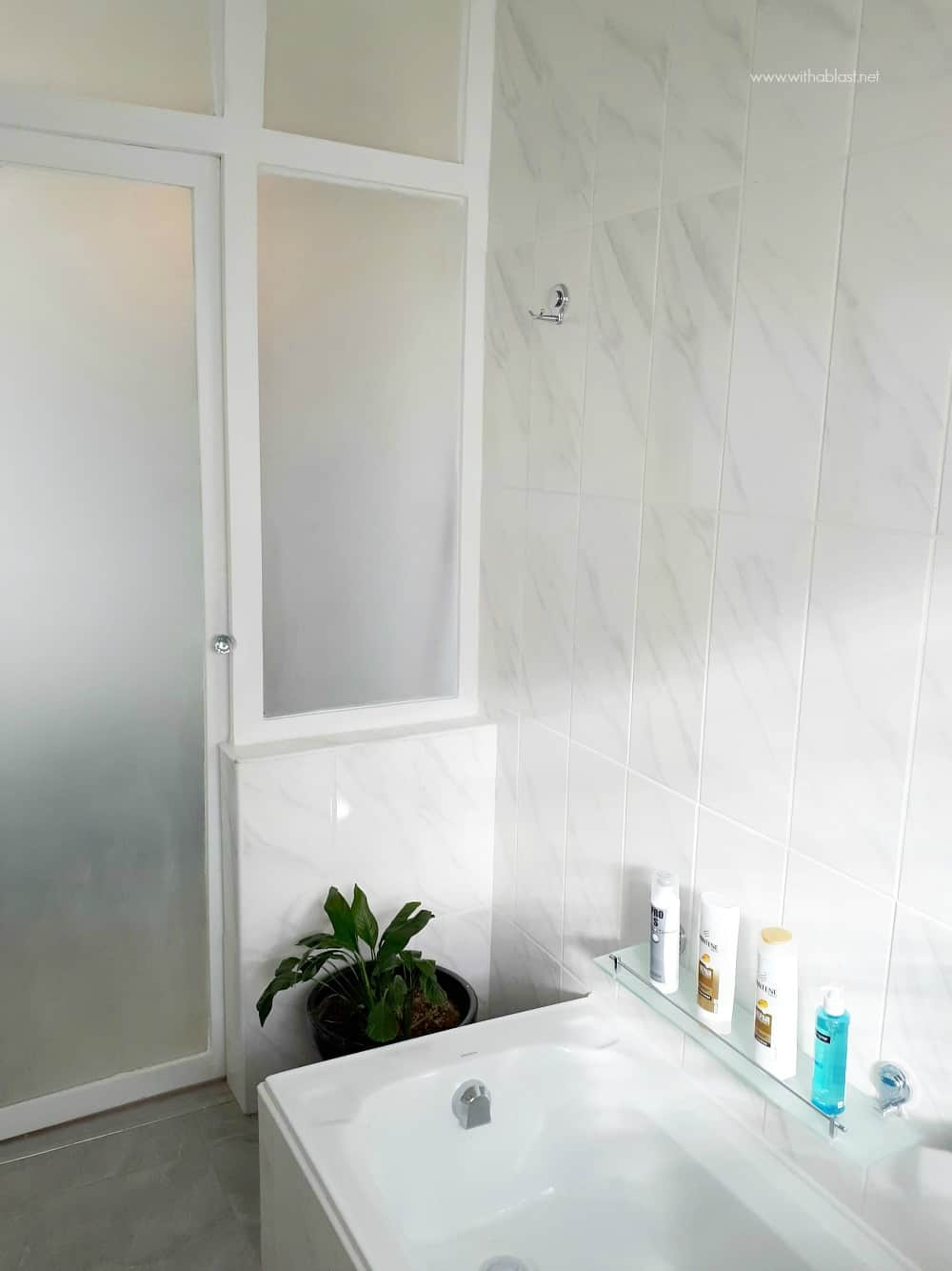 Bathroom Makeover with sand blasted wall window and door