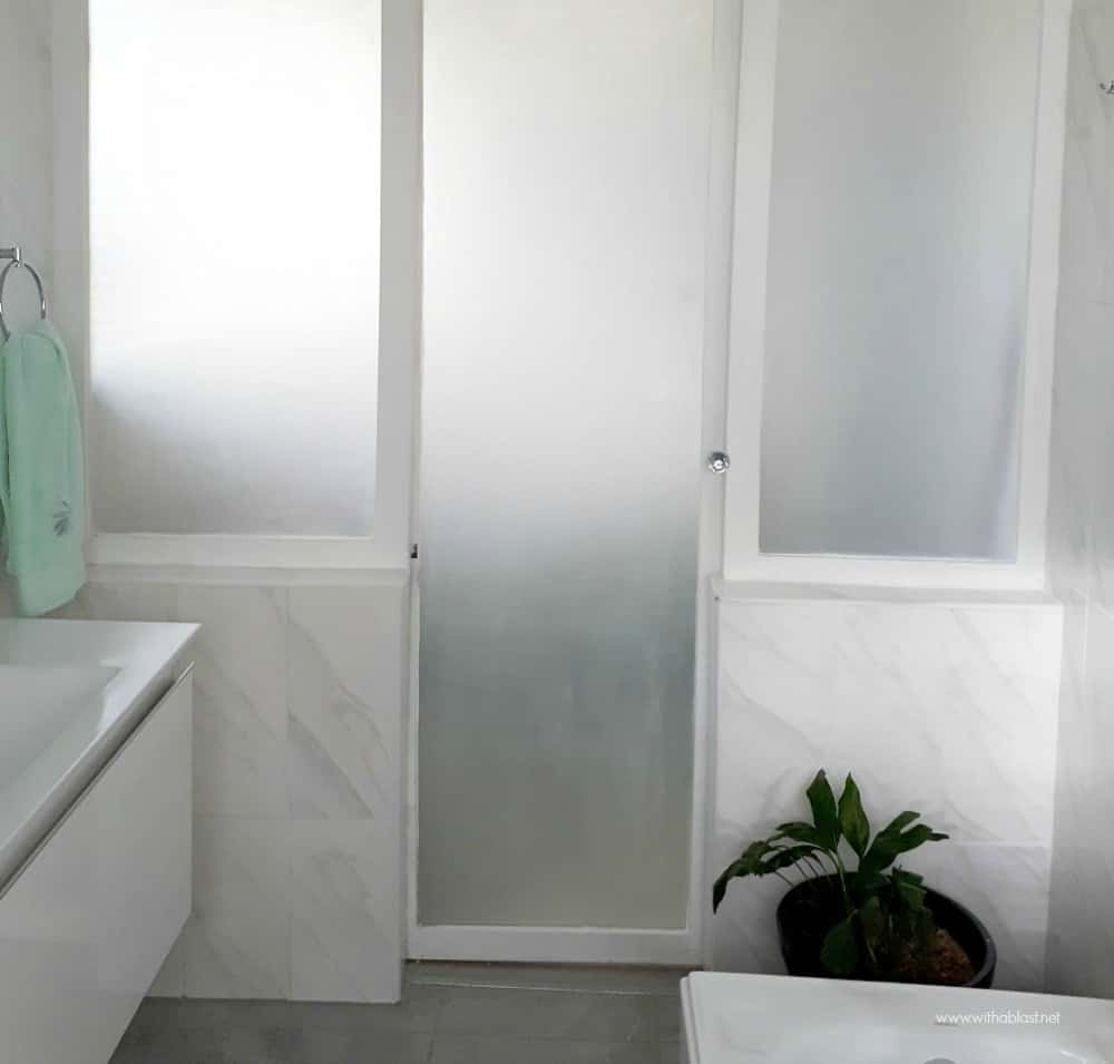 Bathroom Makeover with sandblasted glass wall and door