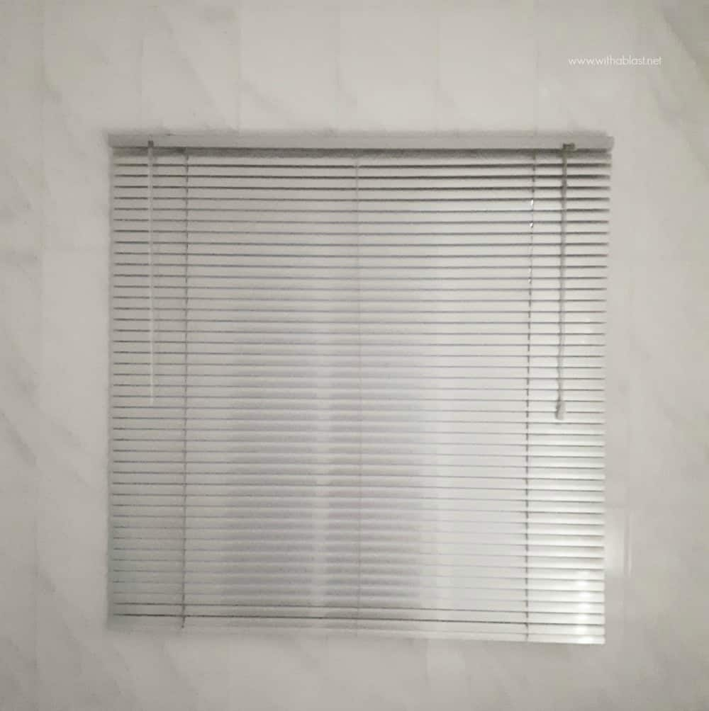 Bathroom Makeover - silver aluminum vertical blinds