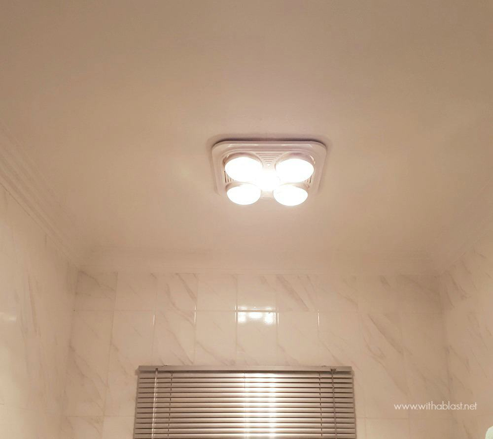 Bathroom Makeover with heater, light and extractor fan