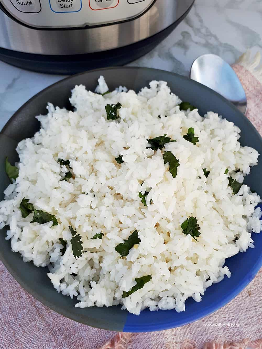 How to make Instant Pot Cilantro Coconut Rice is so easy with pressure cooking set on only THREE minutes ! No coconut milk means a lighter rice in this recipe