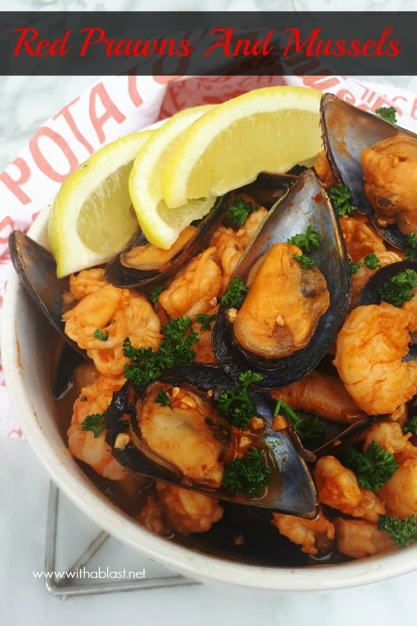 Red Prawns and Mussels are slightly spicy and nestled in a creamy paprika tomato sauce - so quick and easy to serve for dinner or as an appetizer #RedPrawnRecipes #TomatoSaucePrawns #ComfortFood #SeafoodRecipes #EasySeafoodReipes #MusselsRecipe #DinnerRecipes #EasyAppetizerRecipes #ValentinesDayRecipes