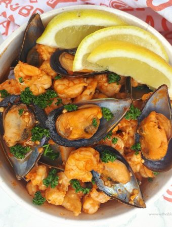 Red Prawns And Mussels