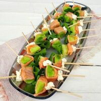Smoked Salmon Wrapped Melon Skewers