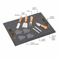 Chef's Basics Select HW1208, S, 11 Pieces Board, Set Includes-Slate Plate with Handles(4) Cheese Tools (4), Multicolor