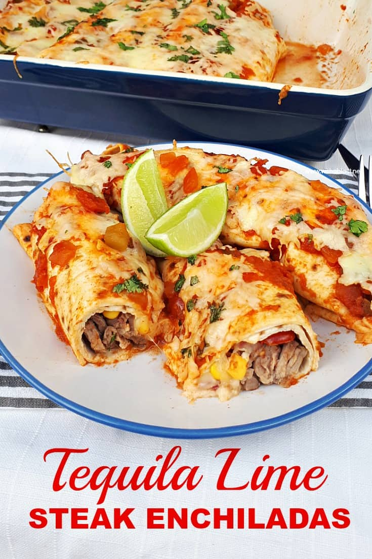 Perfectly marinated Tequila Lime Steak Enchiladas are loaded with steak, a delicious salsa, cheese and topped with chunky salsa sauce and more cheese ! #Enchiladas #SteakEnchiladas #TequilaLimeSteak #ComfortFood