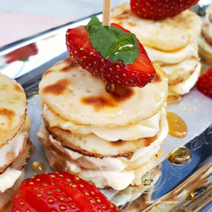 Mascarpone Filled Mini Pancake Stacks