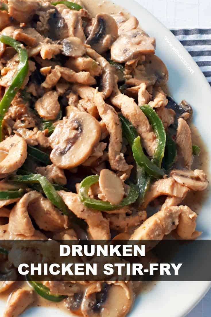 A Rum based marinade turns this Drunken Chicken Stir-Fry into a tender, juicy dish, best served over pasta #DrunkenChickenRecipe #RumBasedMarinade #EasyDinnerRecipes
