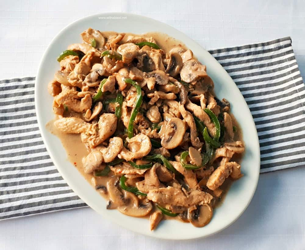 A Rum based marinade turns this Drunken Chicken Stir-Fry into a tender, juicy dish, best served over pasta. This is the perfect quick and easy dinner recipe !
