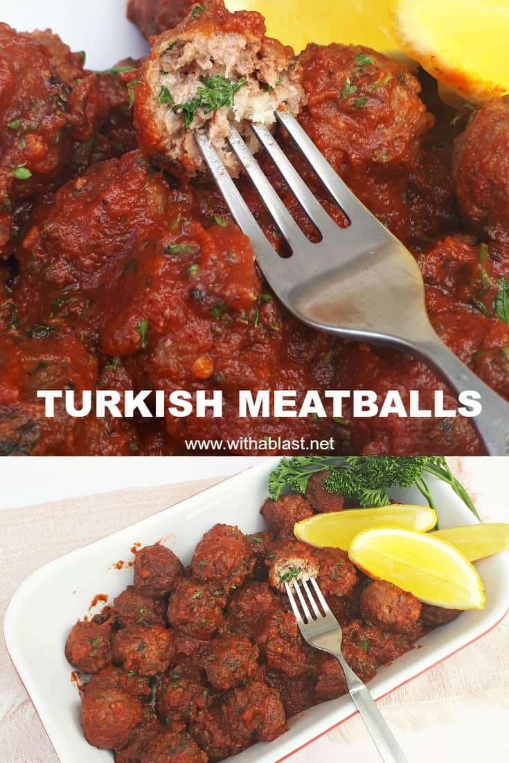 These Turkish Meatballs are made with ground beef and lamb (or choose only one), hugged in an easy to make tomato based sauce #MeatballRecipes #Meatballs #GroundLamb and #GroundBeef