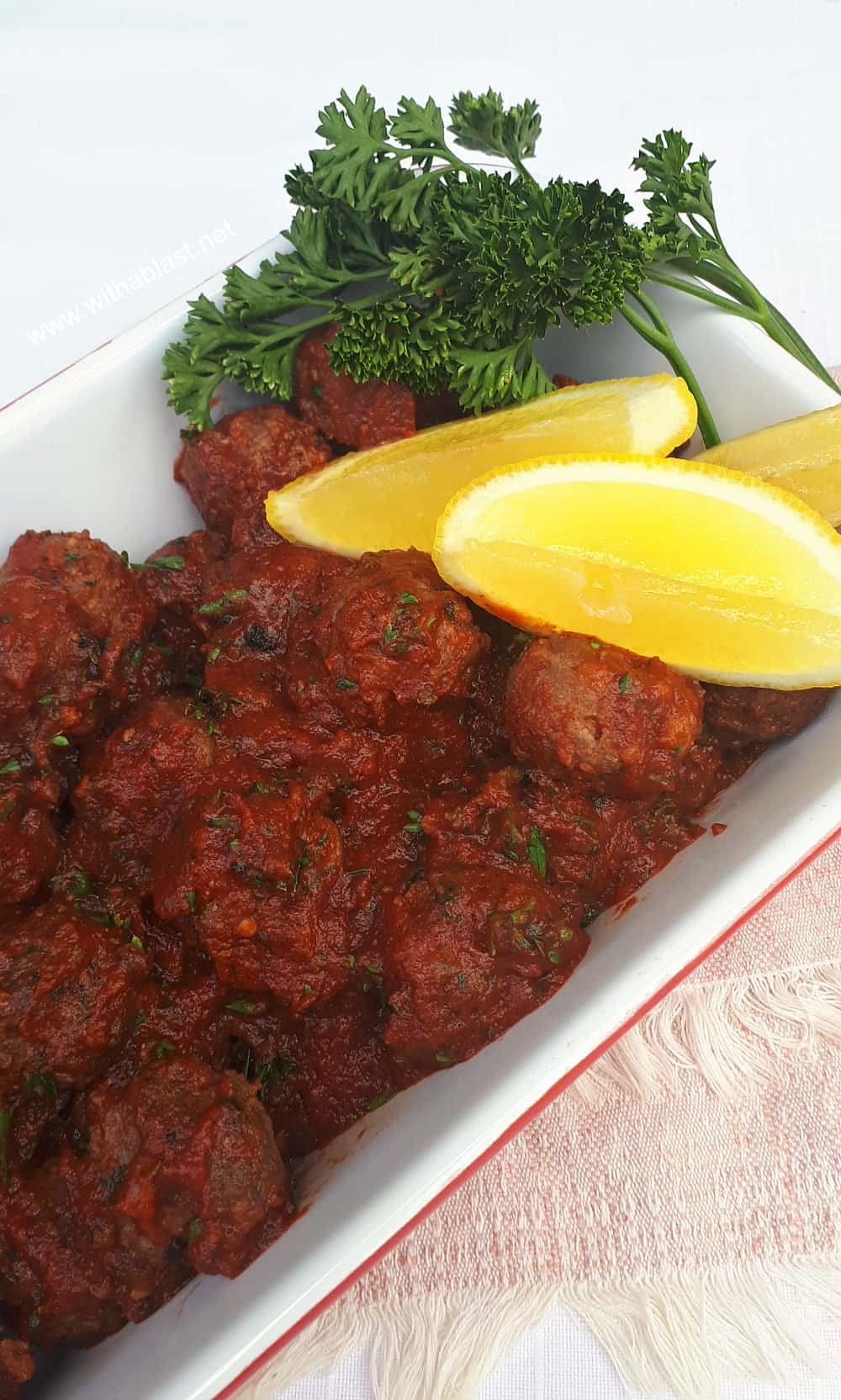 These Turkish Meatballs are made with ground beef and lamb (or choose only one), hugged in an easy to make tomato based sauce