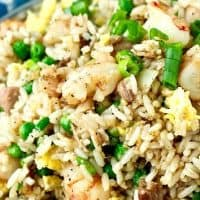 Shrimp and Pork Belly Fried Rice with Peas
